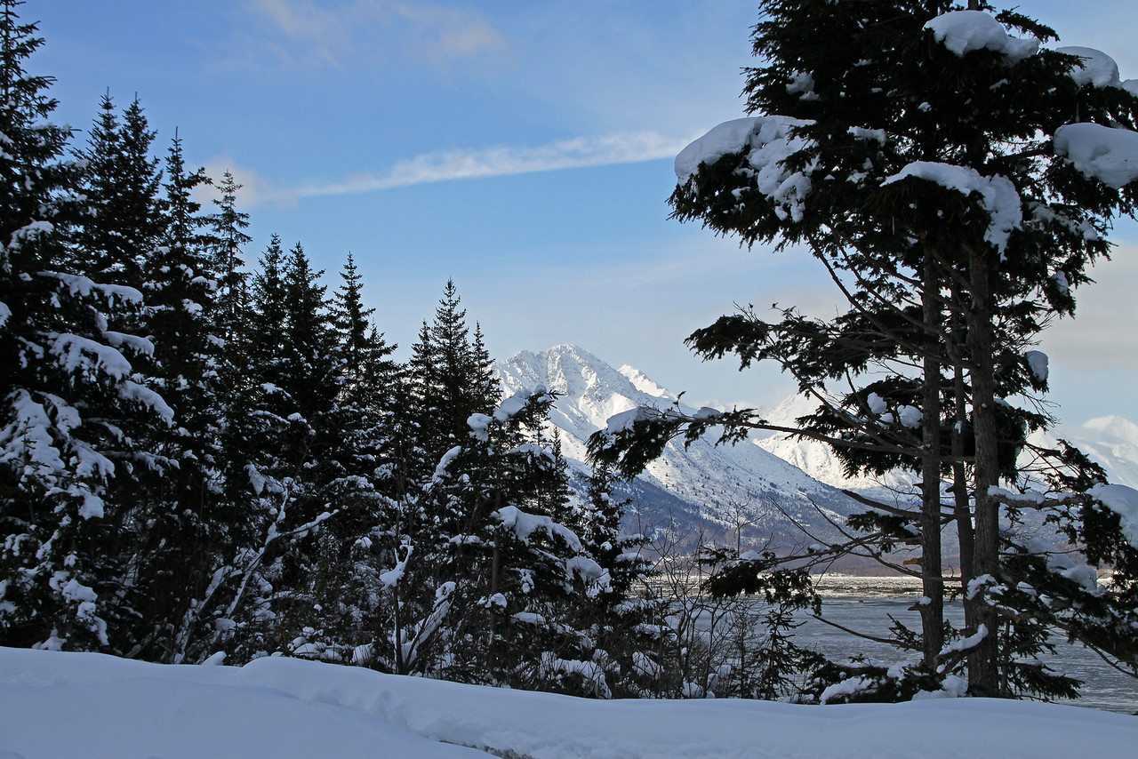 3.9.15: Bird Peak, Chugach Mountains, as seen from Hope Alaska looking across Turnagain Arm.
